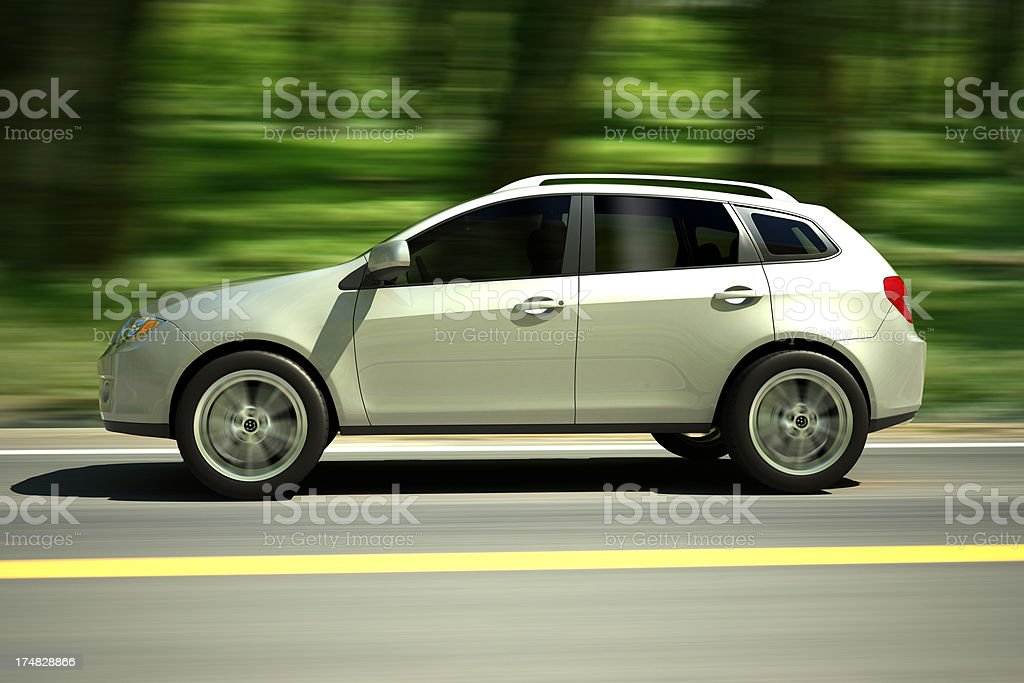 SUV Car driving forest road - clipping path included stock photo