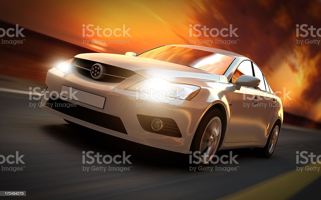 Car driving in sunset royalty-free stock photo