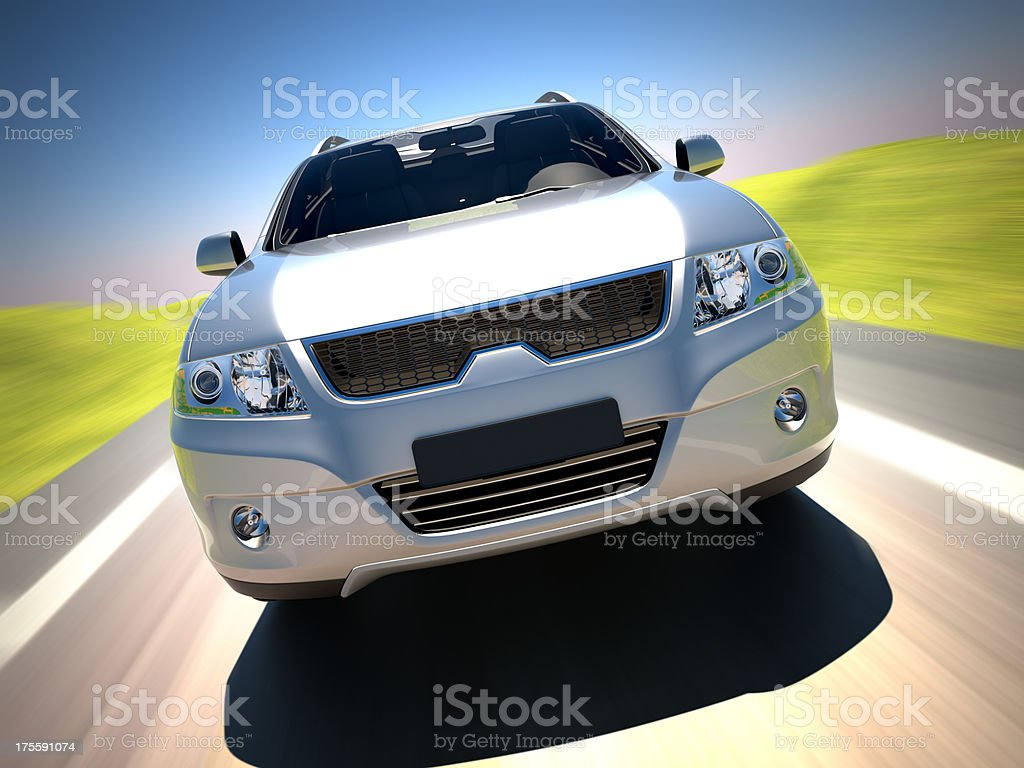 SUV car driving in the countryside royalty-free stock photo