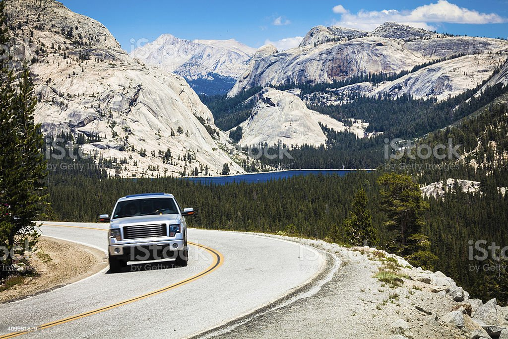 Car Driving in Yosemite National Park stock photo