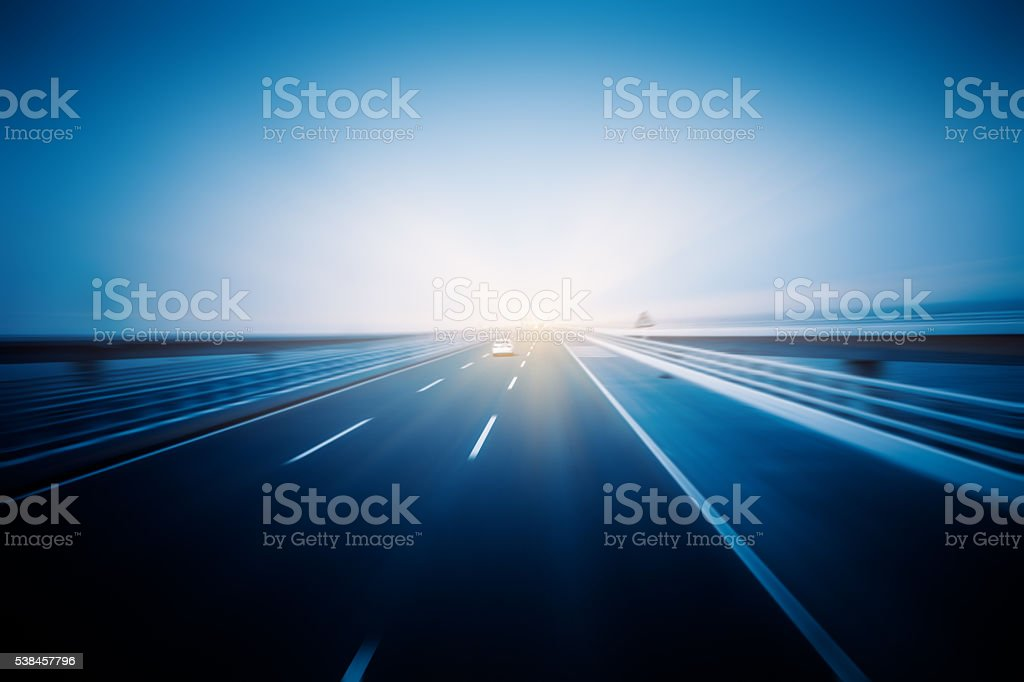 Car driving on sea-crossing bridge,qingdao stock photo