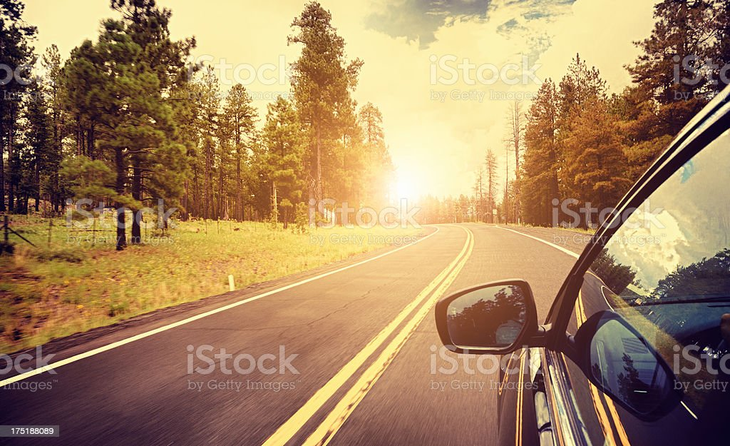 Car driving on Sequoia National Park road stock photo