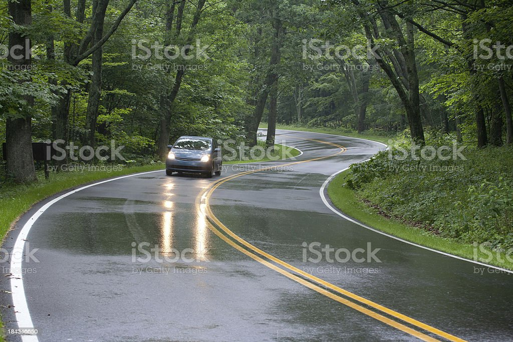 Car driving on Skyline Drive, Shenandoah National Forest, Virginia stock photo