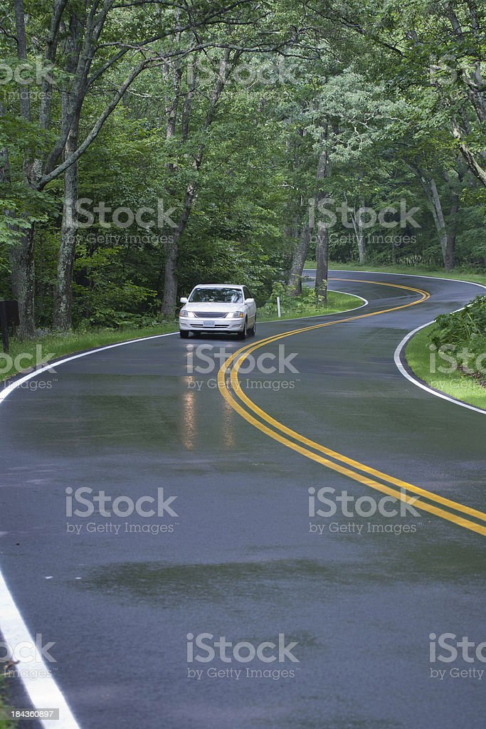 Car driving on Skyline Drive, Shenandoah National Forest, Virginia royalty-free stock photo