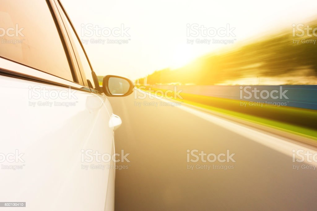 Car driving on the road stock photo
