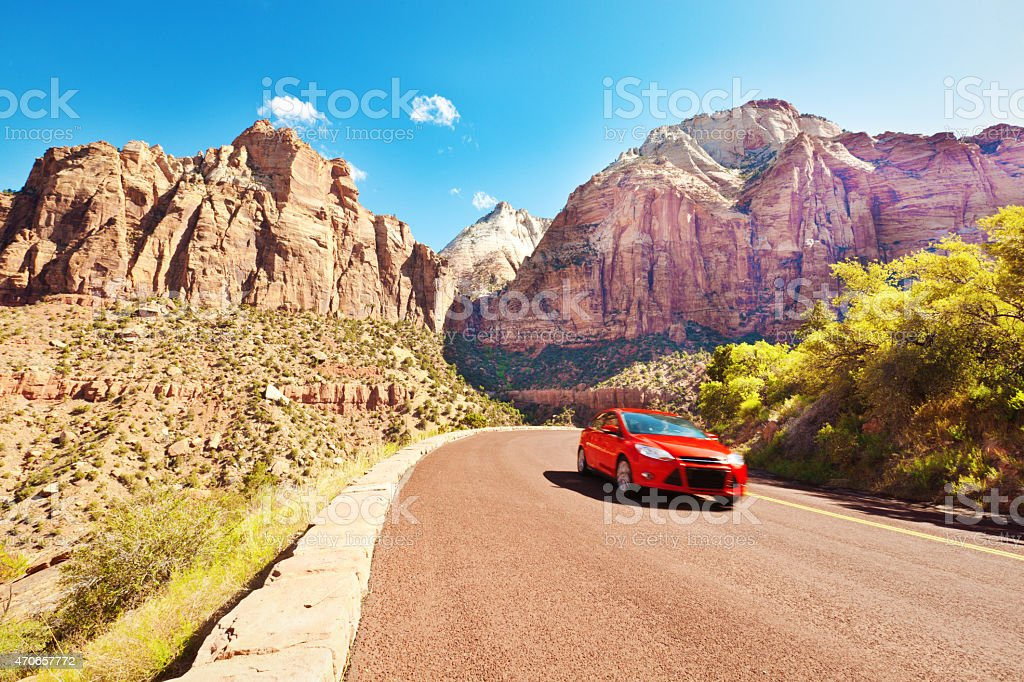 Car Driving Road Trip Touring at Zion National Park Utah stock photo