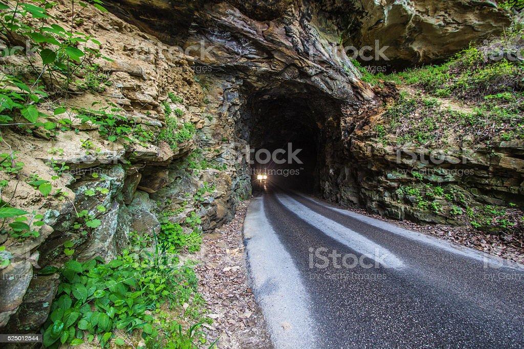 Car Driving Through A Mountain Tunnel In Kentucky stock photo