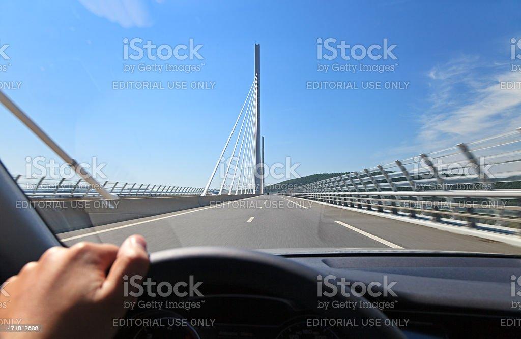 POV Car Driving through Millau Bridge, Southern France stock photo