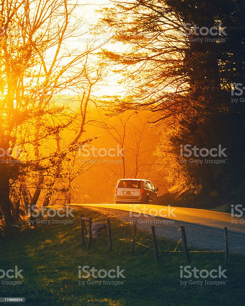 car driving thru a dirt road in Tennessee royalty-free stock photo