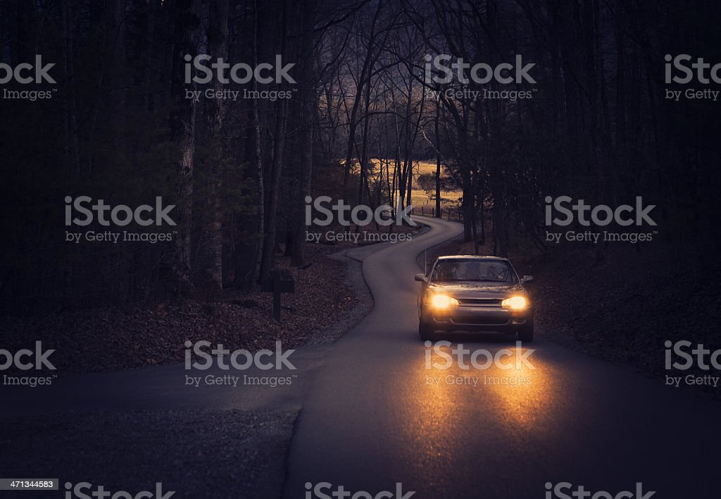 car driving thru a road in Tennessee royalty-free stock photo