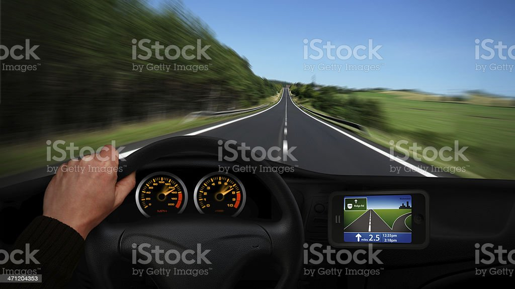 Car Driving With Navigation royalty-free stock photo