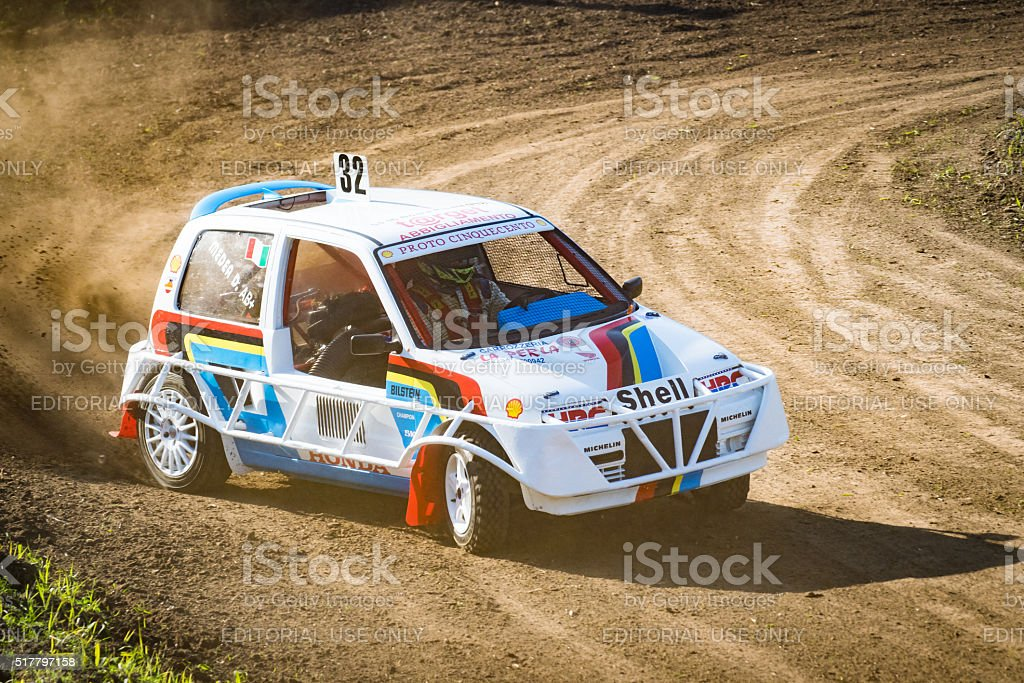 Car during a 'stock car cross' free demostration. stock photo
