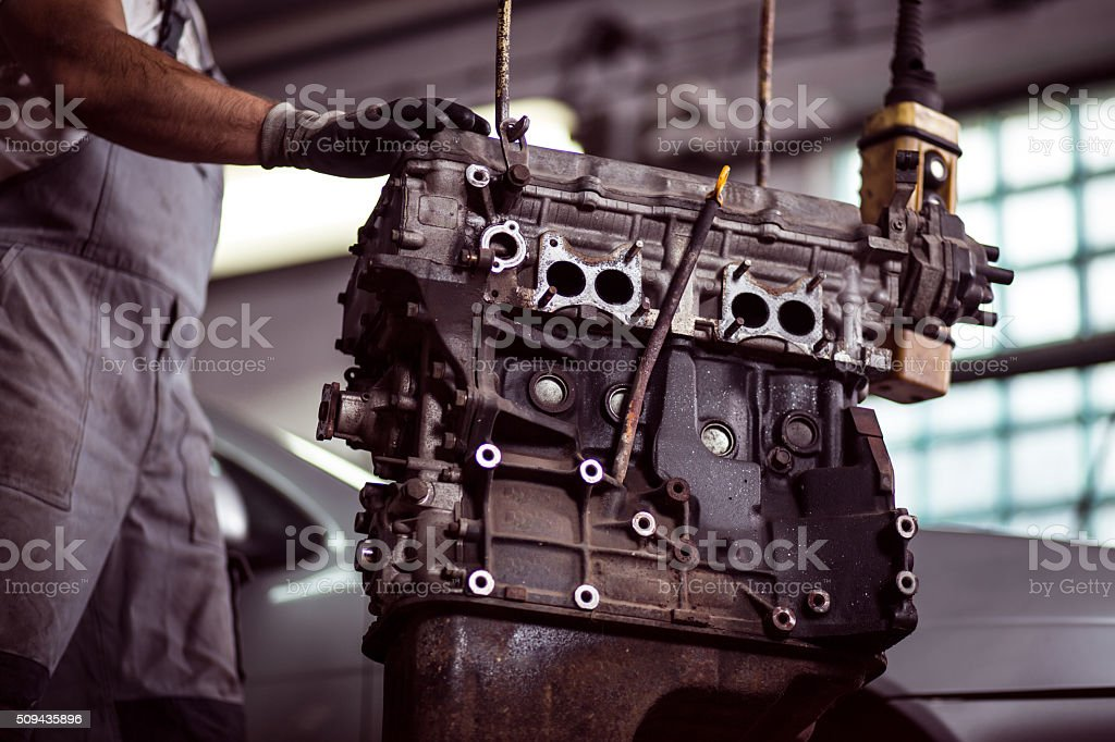 Car engine at mechanic stock photo
