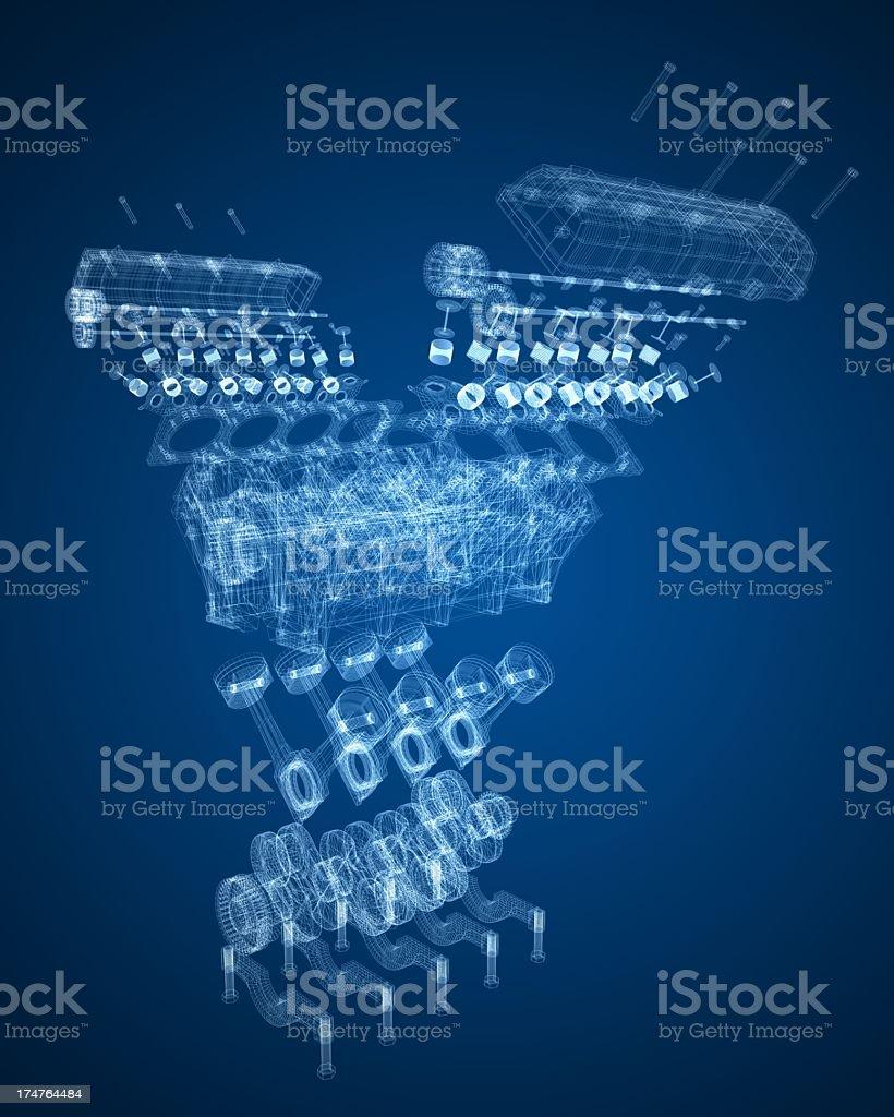 Car engine blueprint stock photo