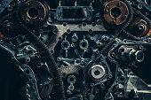 V8 car engine close-up