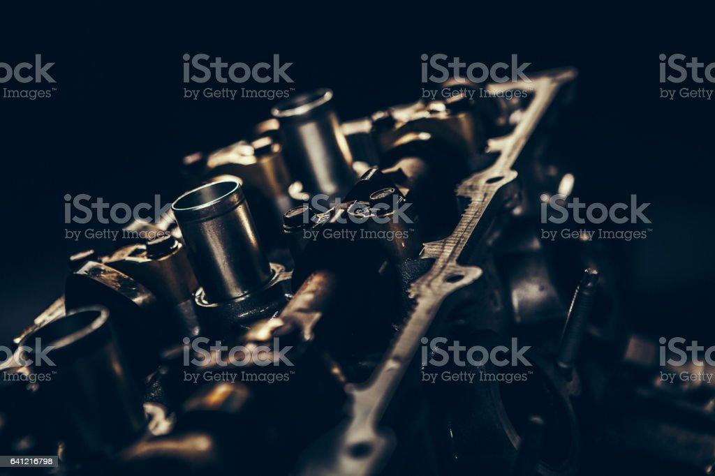 V8 car engine close-up stock photo