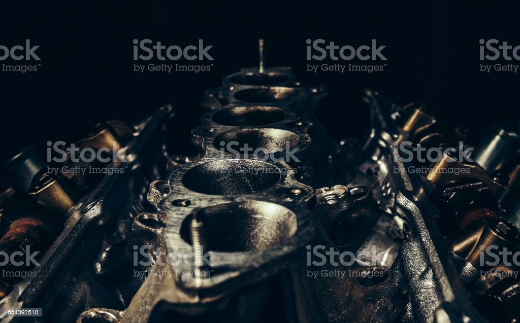 V8 car engine close-up stock photo