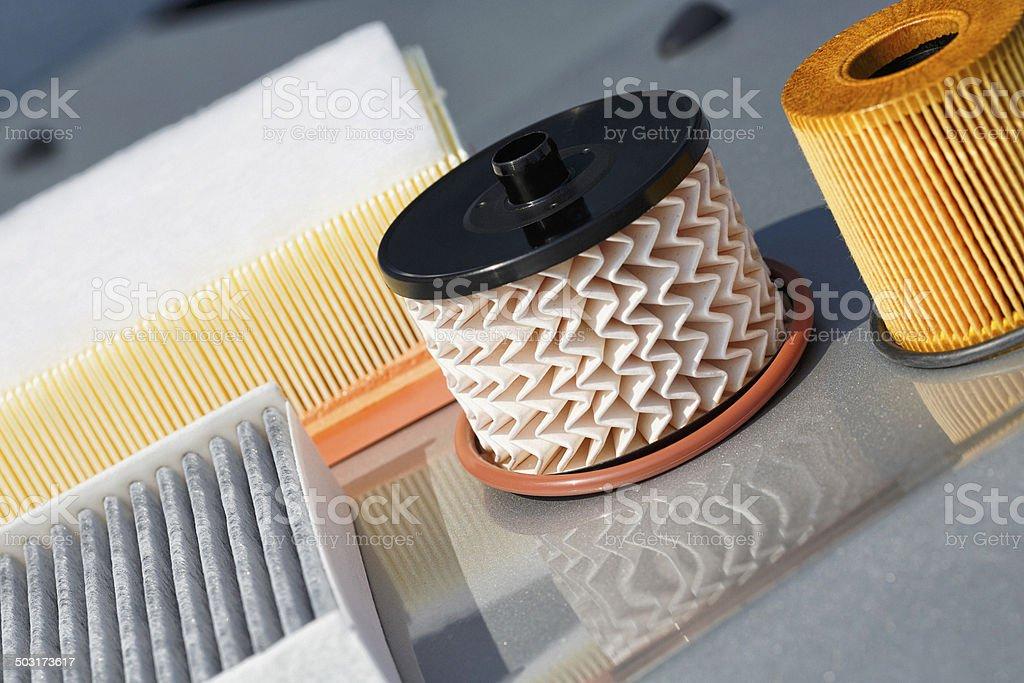Car engine filter stock photo