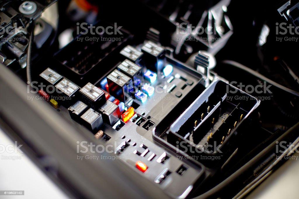Car engine fuse box stock photo