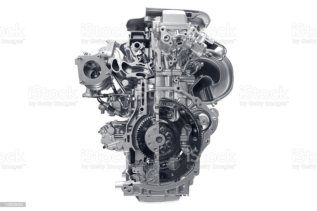 Car engine in front of white background stock photo