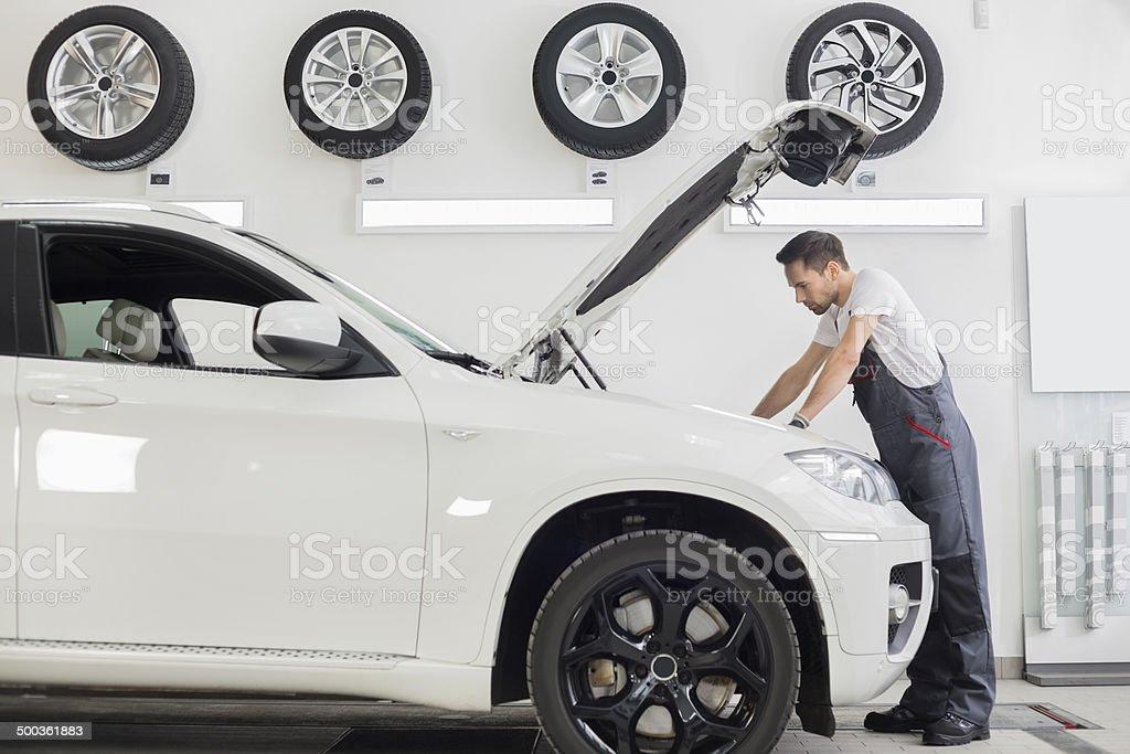 car engine in repair shop stock photo