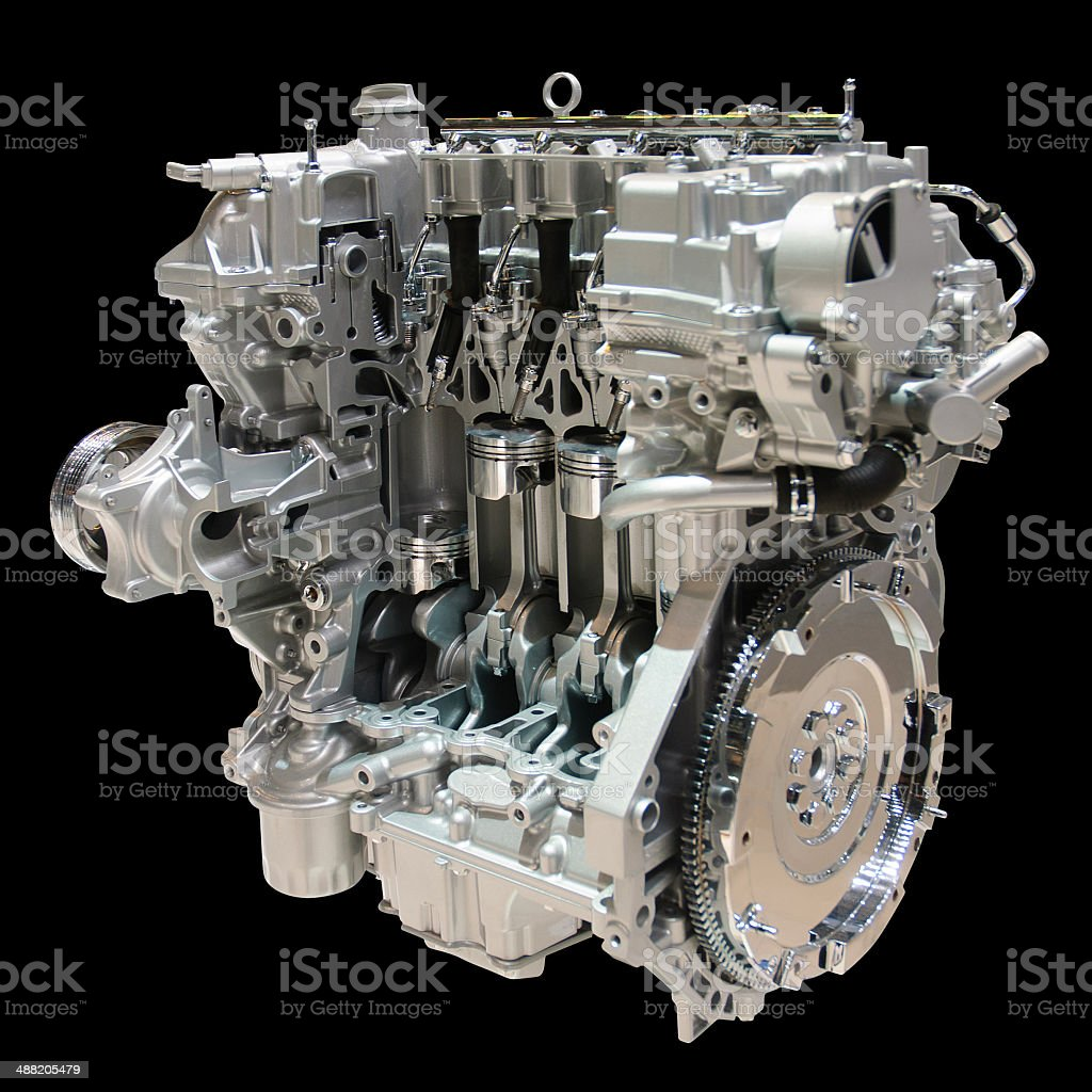 Car engine isolated on black with path royalty-free stock photo