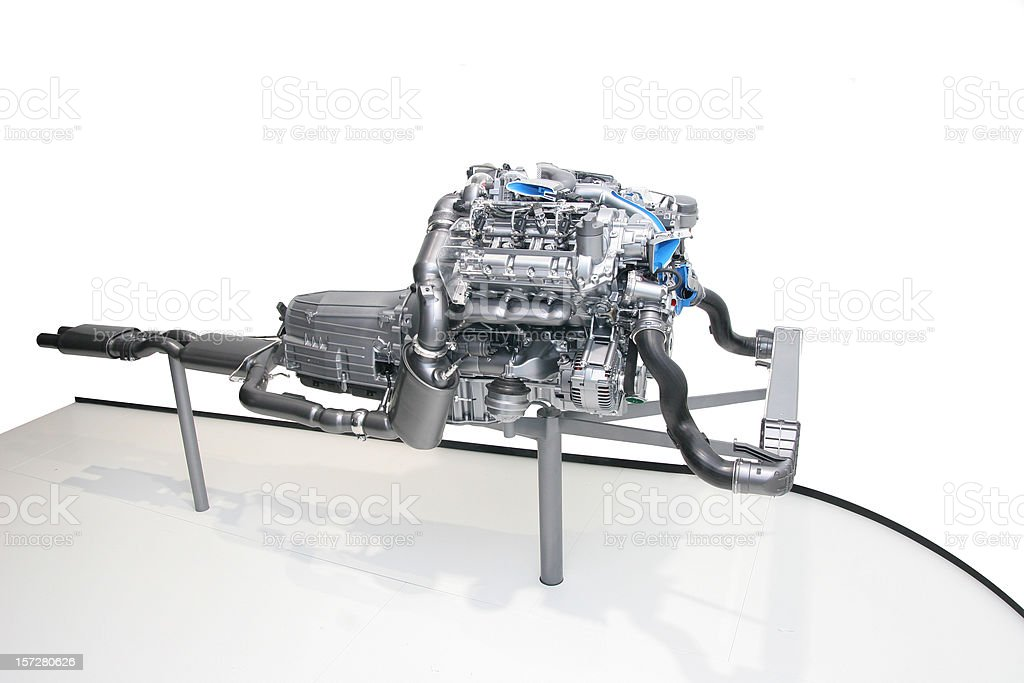 Car engine, isolated on white royalty-free stock photo