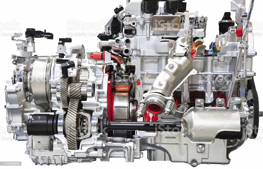 Car Engine, Isolated on White royalty-free stock photo