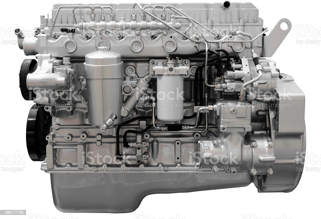 Car engine isolated on white with path royalty-free stock photo