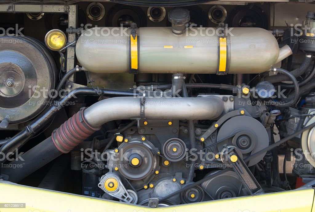 Car Engine - Modern powerful bus stock photo
