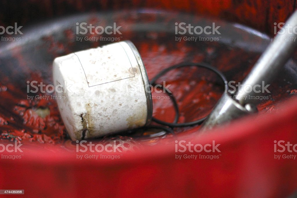 Car engine oil filter stock photo