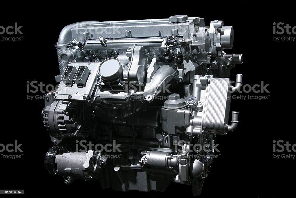 Car engine on black stock photo