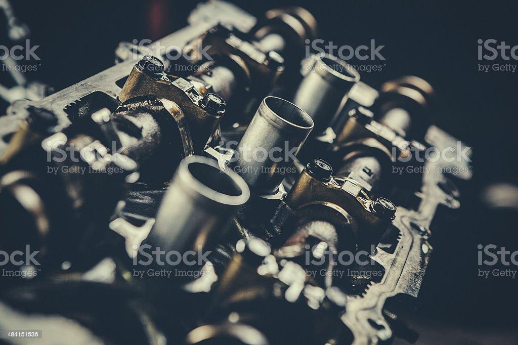 V8 Car Engine Parts Closeup stock photo