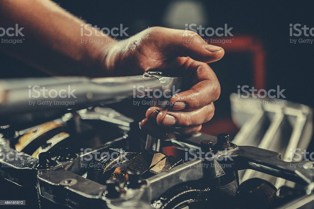 V8 Car Engine Repair stock photo