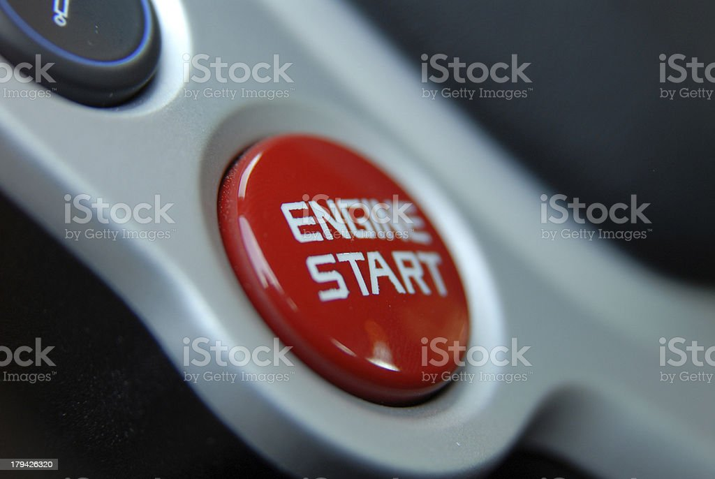 Car engine start and stop button royalty-free stock photo