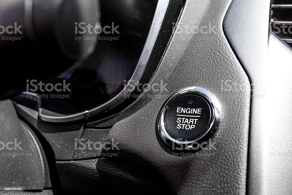 Car engine start stop push button stock photo