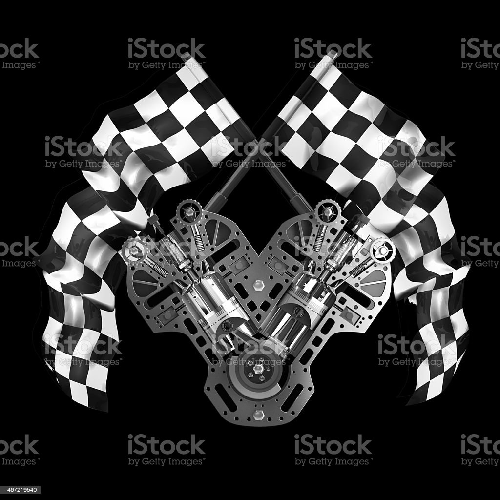 V8 Car engine. Two crossed checkered flags isolated on black stock photo