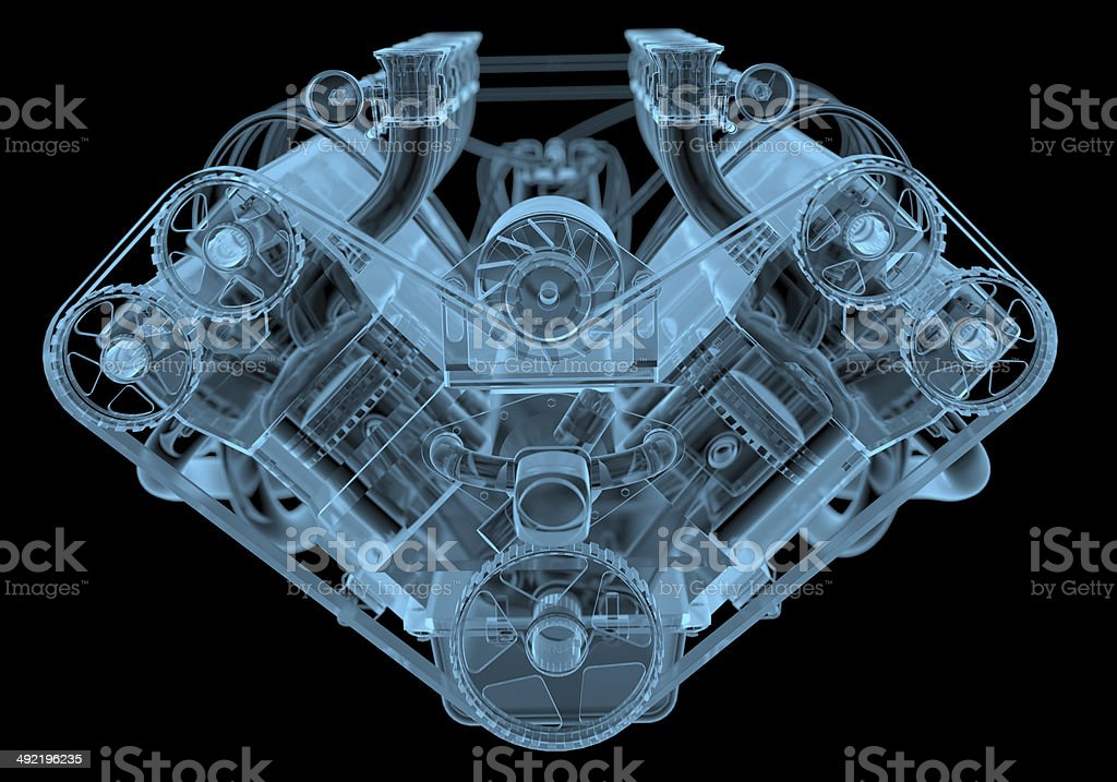 Car engine x-ray blue transparent isolated on black stock photo