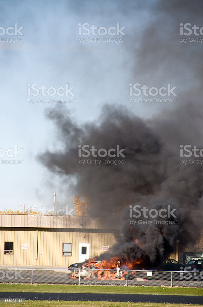 Car Engulfed in Flames stock photo