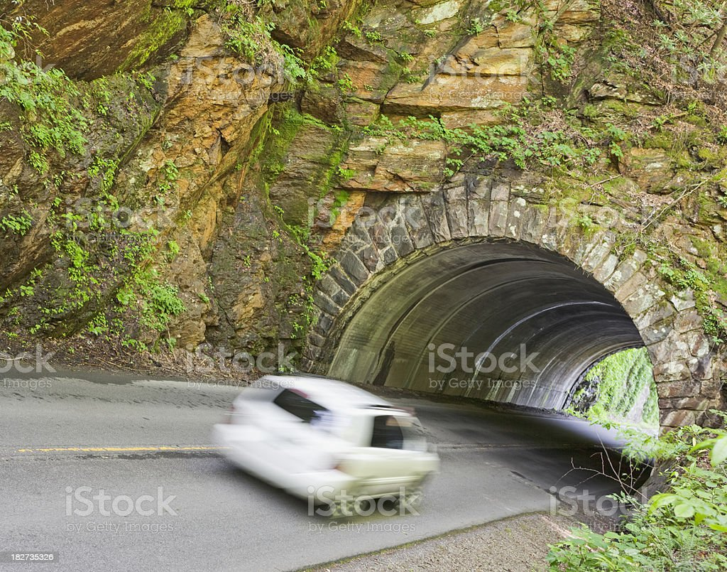 Car entering tunnel in the Smoky Mountains royalty-free stock photo