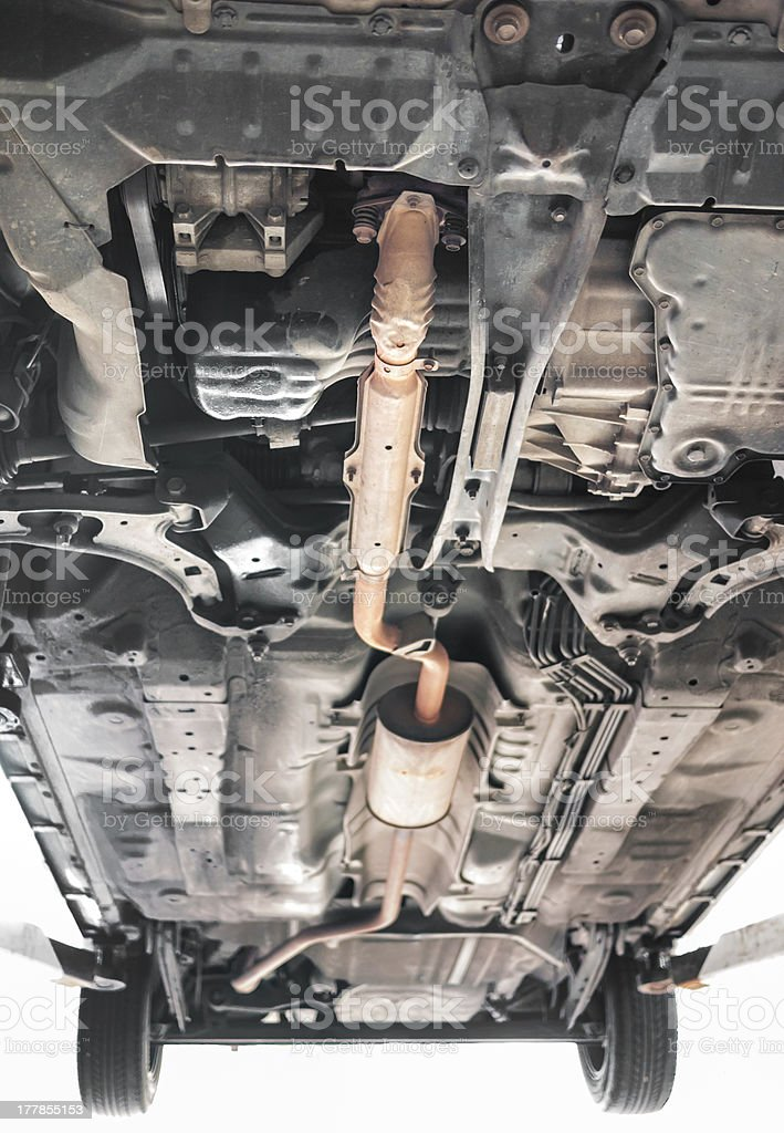 Car exhaust system in orange color stock photo