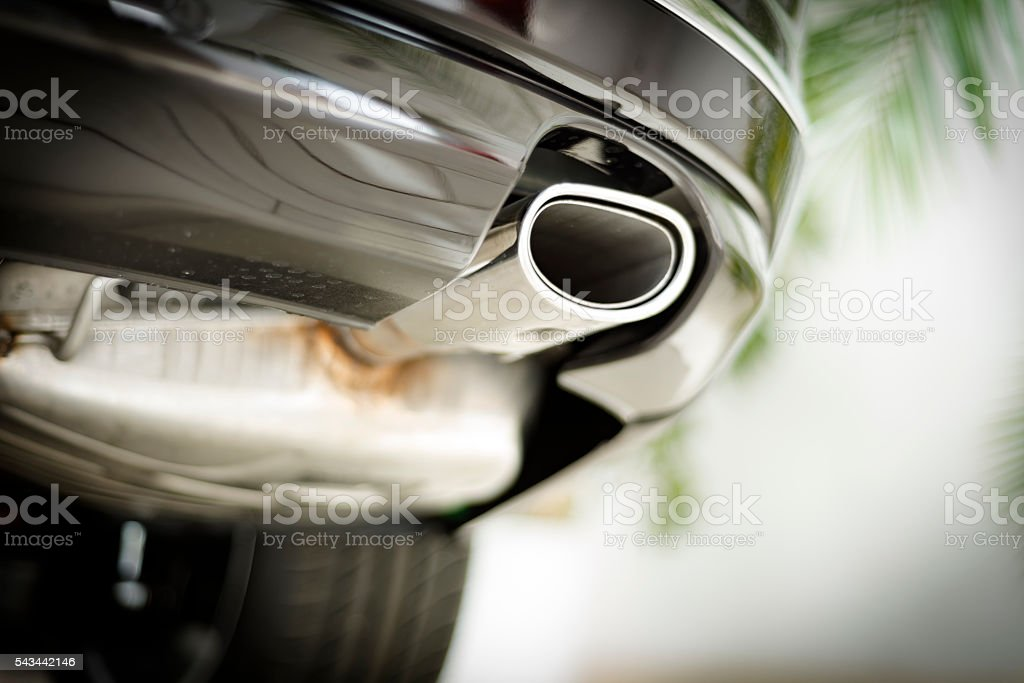 Car exterior silencer system stock photo