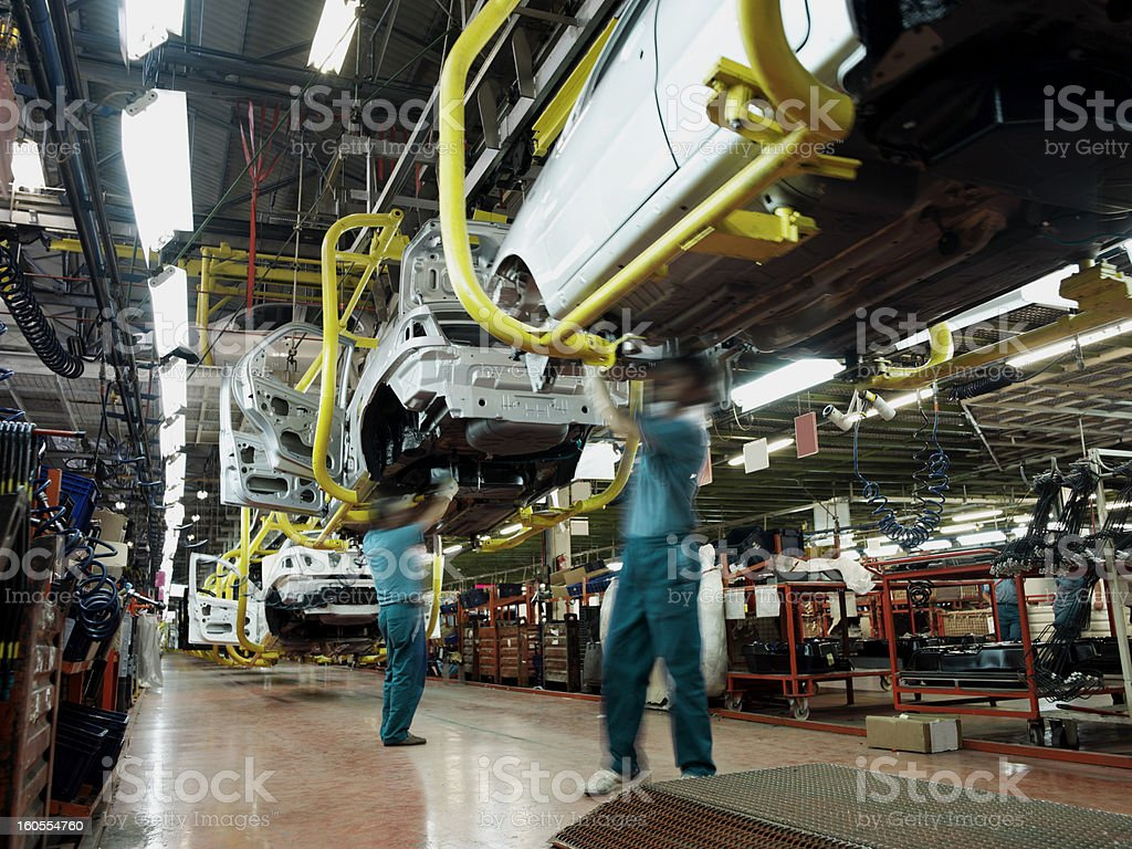 Car factory production line stock photo