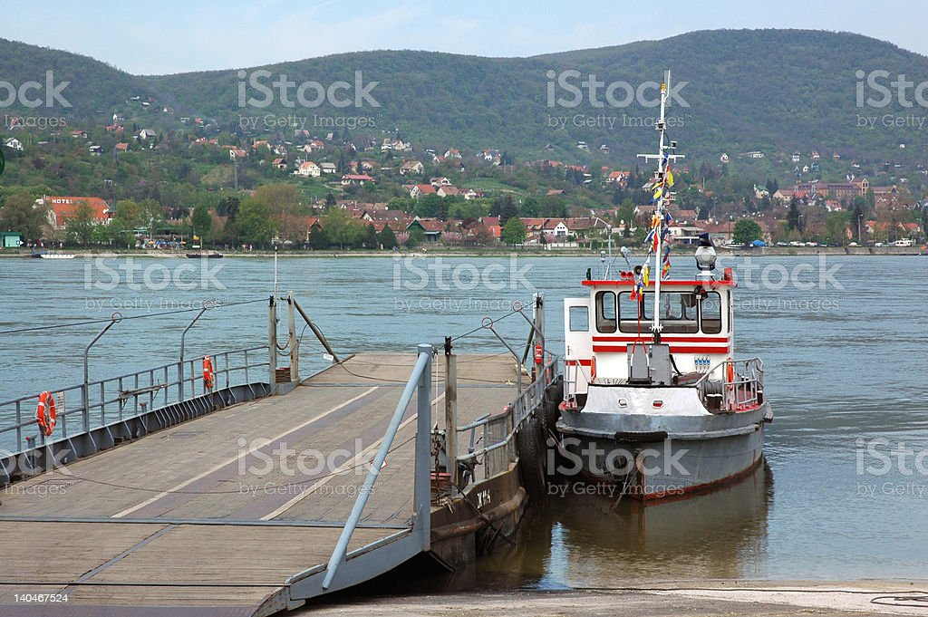 Car ferry on the River Danube royalty-free stock photo