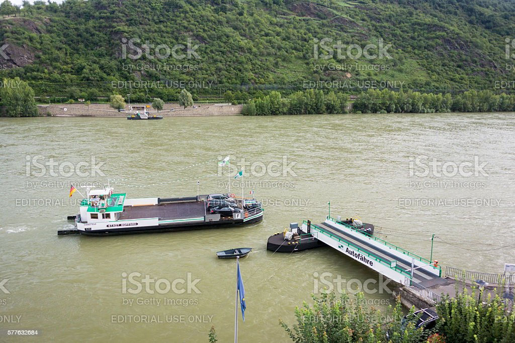 Car Ferry on the River Rhine, Germany stock photo