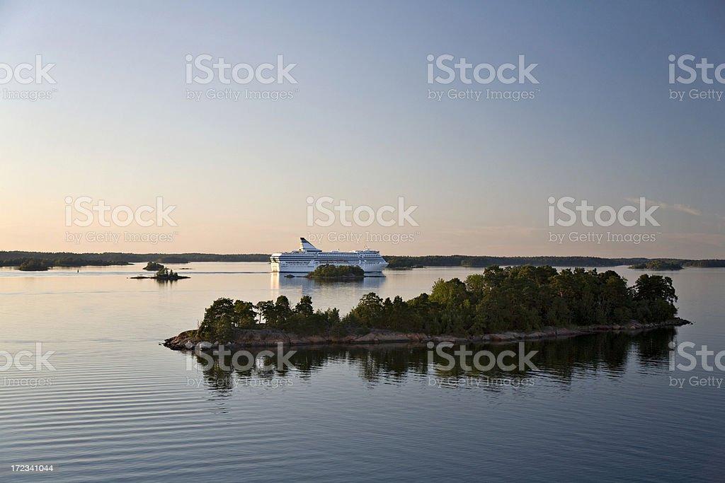 Car Ferry Sailing in Stockholm Archipelago stock photo