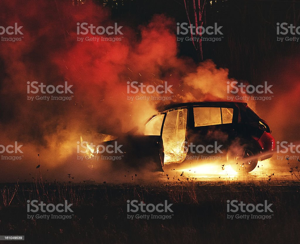 Car Fire stock photo