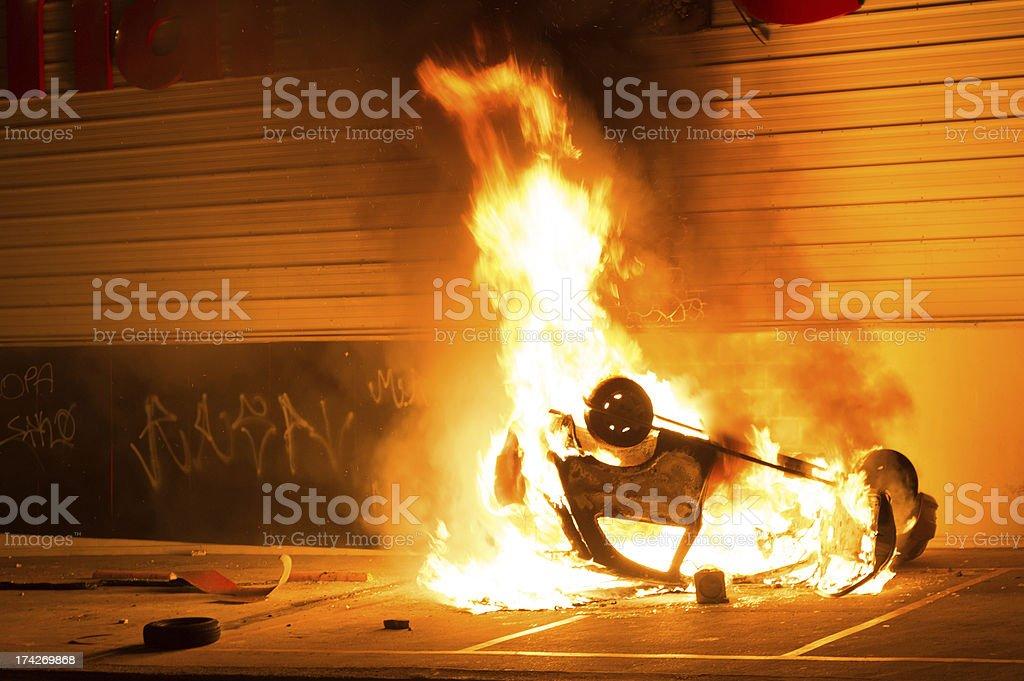 Car fire stock photo