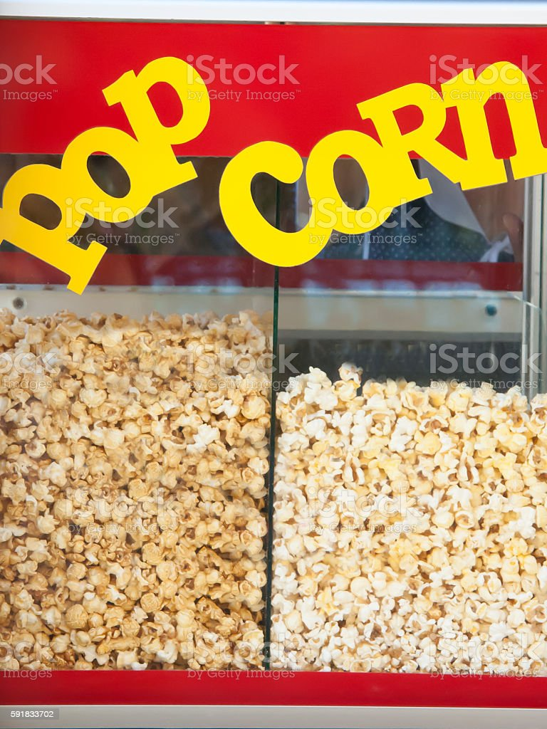 car for production of tasty popcorn stock photo