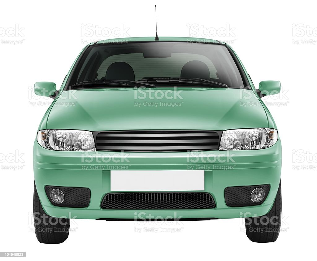 Car front side (isolated with clipping path over white background) stock photo